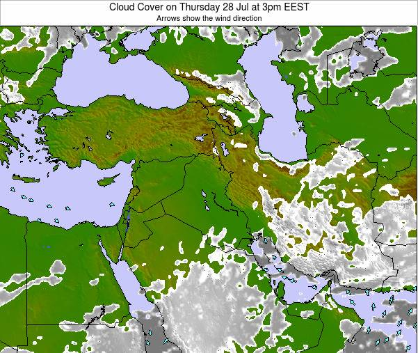 Israel Cloud Cover on Sunday 23 Jun at 9am EEST