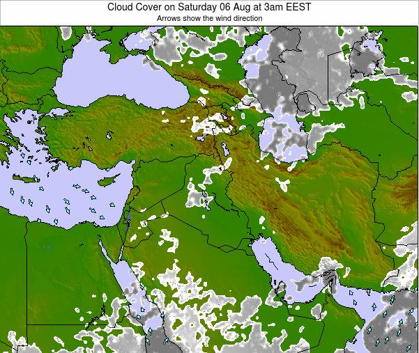 Israel Cloud Cover on Sunday 26 May at 9pm EEST