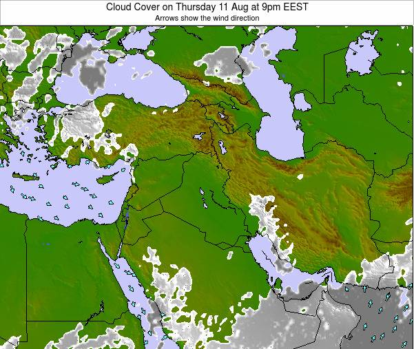 Israel Cloud Cover on Thursday 30 May at 3am EEST