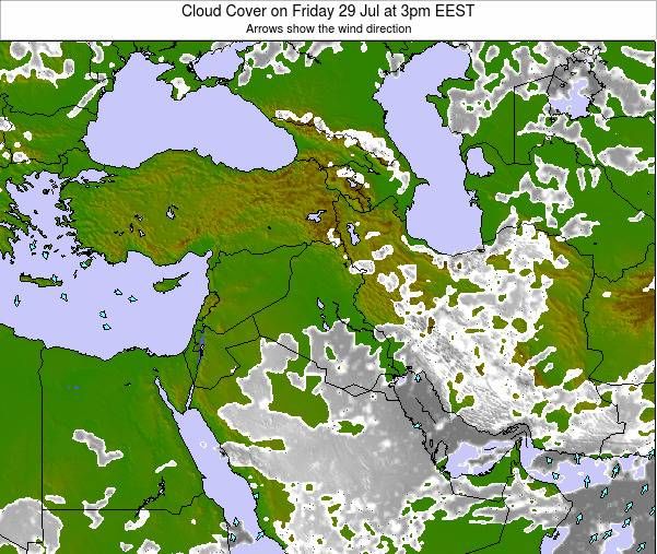 Israel Cloud Cover on Tuesday 28 May at 3am EEST