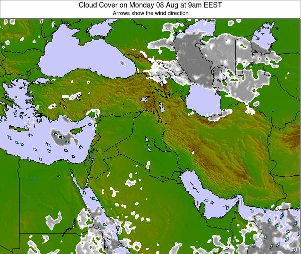 Jordan Cloud Cover on Monday 20 May at 9pm EEST map