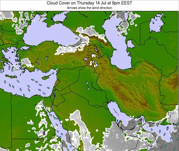 Israel Cloud Cover on Friday 21 Jun at 3am EEST