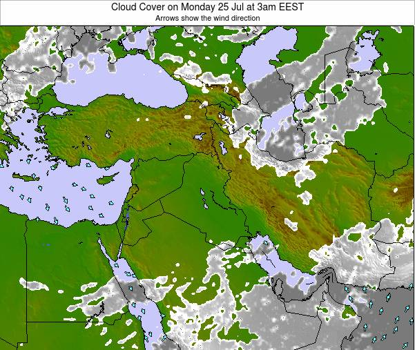 Iraq Cloud Cover on Tuesday 19 Mar at 2pm EET map