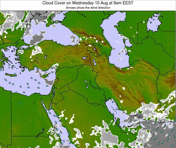 Israel Cloud Cover on Tuesday 28 May at 9am EEST