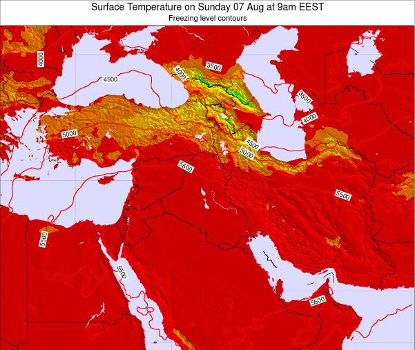 Lebanon Surface Temperature on Tuesday 28 May at 9pm EEST