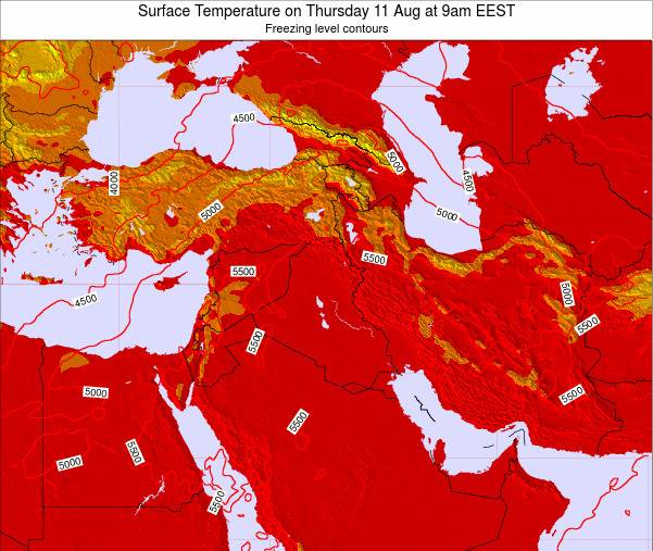 Lebanon Surface Temperature on Monday 09 Dec at 2am EET