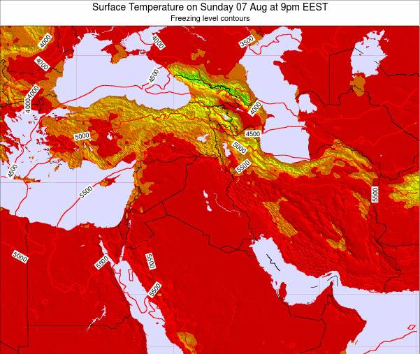 Jordan Surface Temperature on Tuesday 28 May at 9pm EEST map