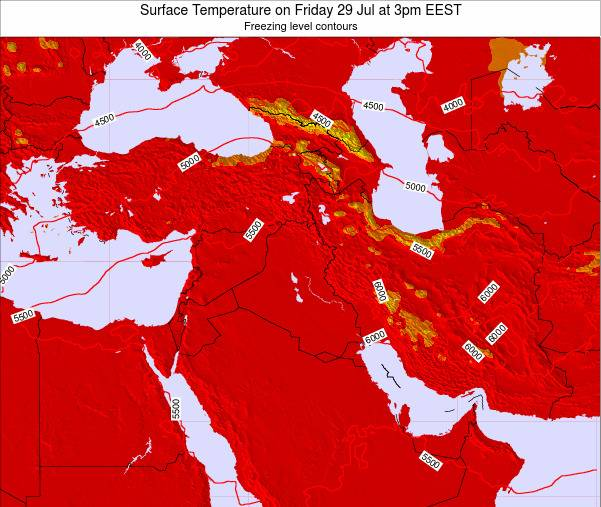 Lebanon Surface Temperature on Sunday 16 Mar at 8am EET