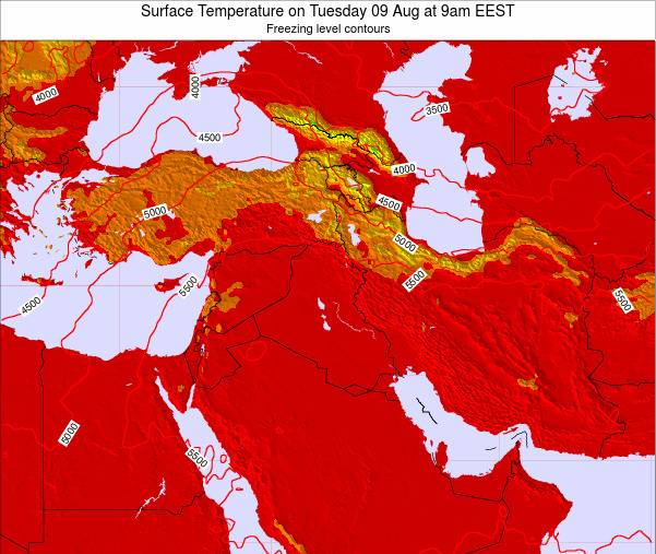 Lebanon Surface Temperature on Wednesday 09 Sep at 3pm EEST