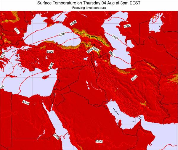 Jordan Surface Temperature on Wednesday 19 Jun at 3pm EEST map