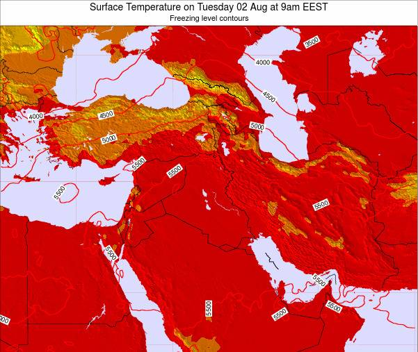 Lebanon Surface Temperature on Thursday 20 Dec at 8pm Aleppo time map