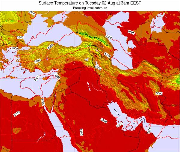 Lebanon Surface Temperature on Thursday 20 Jun at 3am EEST map