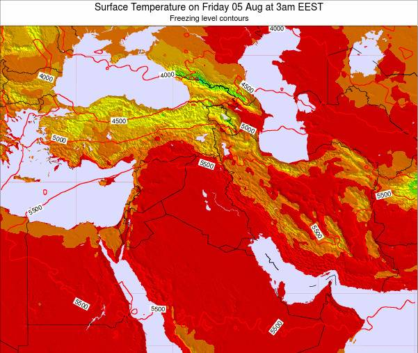 Lebanon Surface Temperature on Tuesday 25 Dec at 8am Aleppo time map
