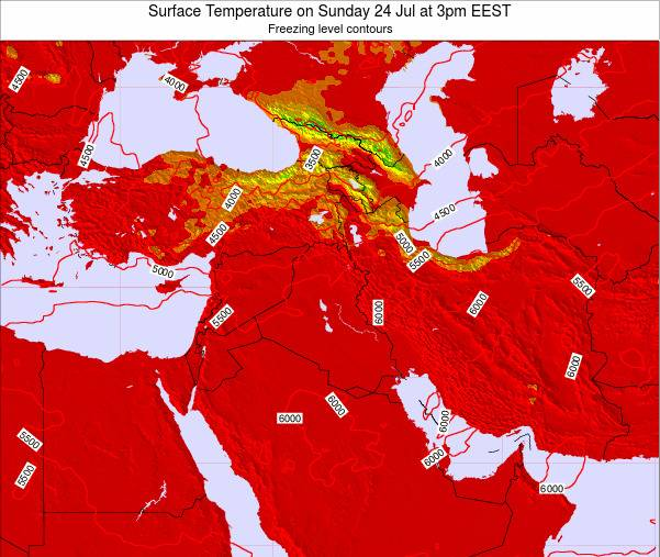 Jordan Surface Temperature on Monday 27 May at 3pm EEST map