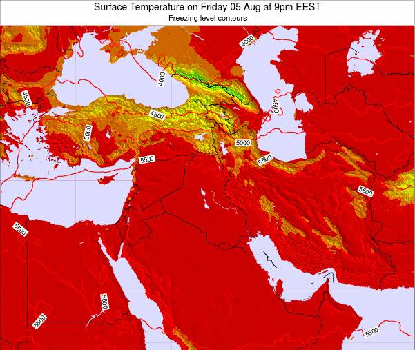 Lebanon Surface Temperature on Tuesday 25 Dec at 8pm Aleppo time map