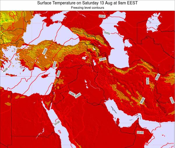 Lebanon Surface Temperature on Wednesday 26 Dec at 8pm Aleppo time map