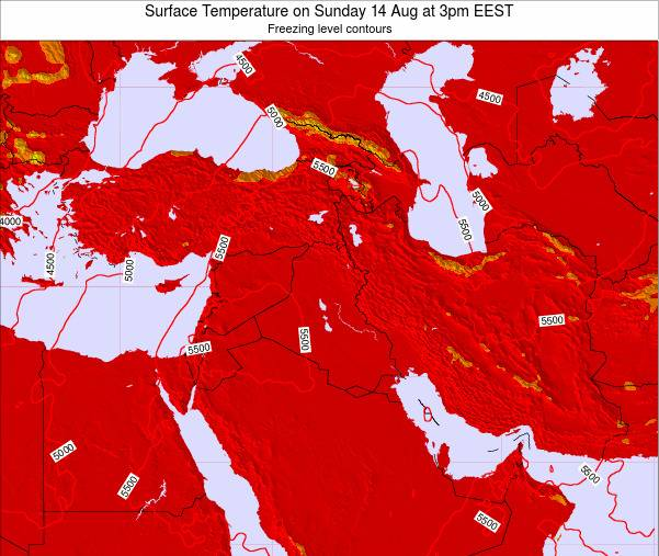 Lebanon Surface Temperature on Thursday 27 Dec at 8am Aleppo time map