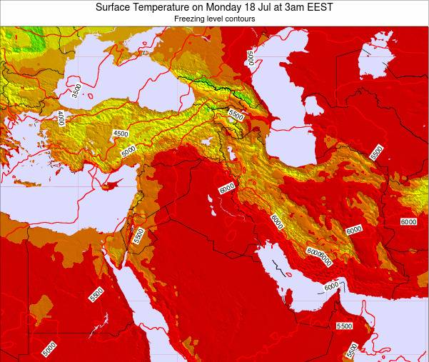 Lebanon Surface Temperature on Friday 21 Dec at 8am Aleppo time map