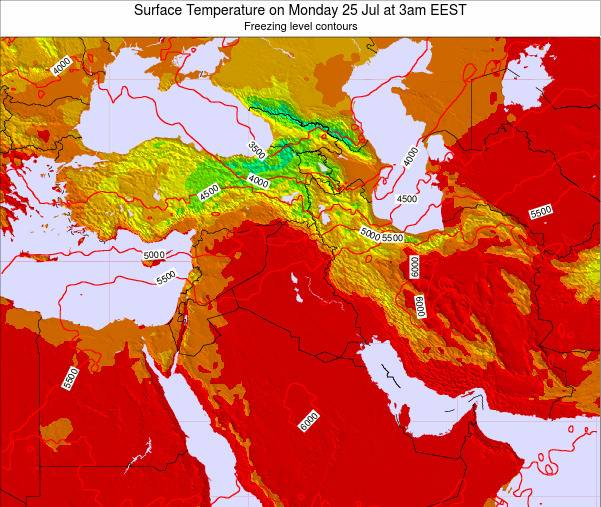 Israel Surface Temperature on Friday 24 May at 9pm EEST