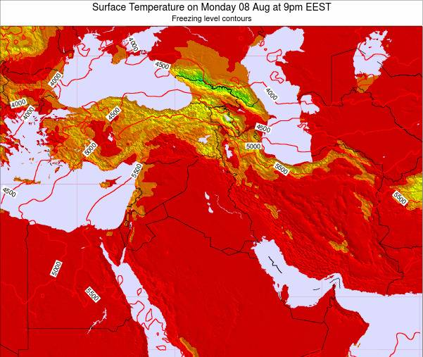 Israel Surface Temperature on Monday 21 May at 9pm EEST map