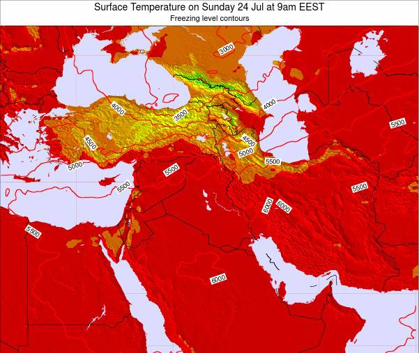 Israel Surface Temperature on Monday 20 Aug at 9am EEST map