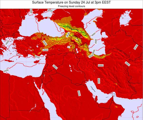 Lebanon Surface Temperature on Friday 21 Dec at 8pm Aleppo time map