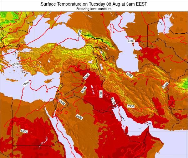 Israel Surface Temperature on Saturday 19 Jan at 8am EET map