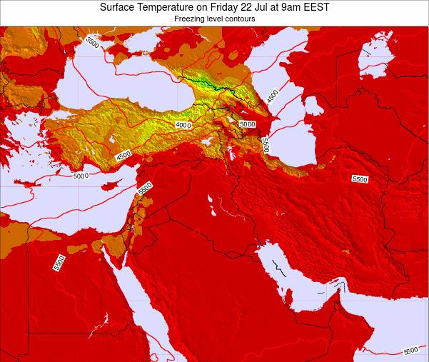 Jordan Surface Temperature on Monday 20 May at 9pm EEST map
