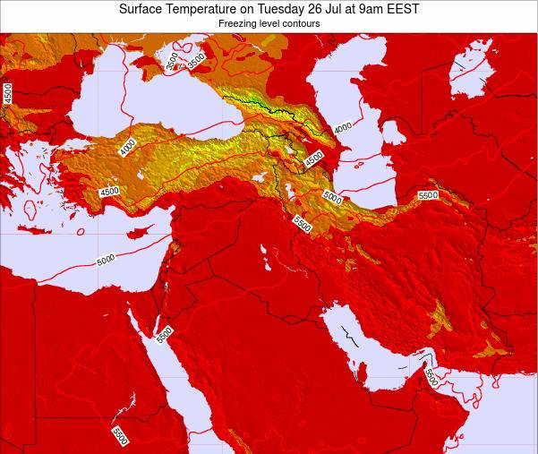 Jordan Surface Temperature on Saturday 25 May at 9pm EEST map