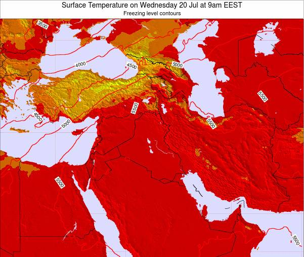 Lebanon Surface Temperature on Sunday 23 Dec at 8am Aleppo time map