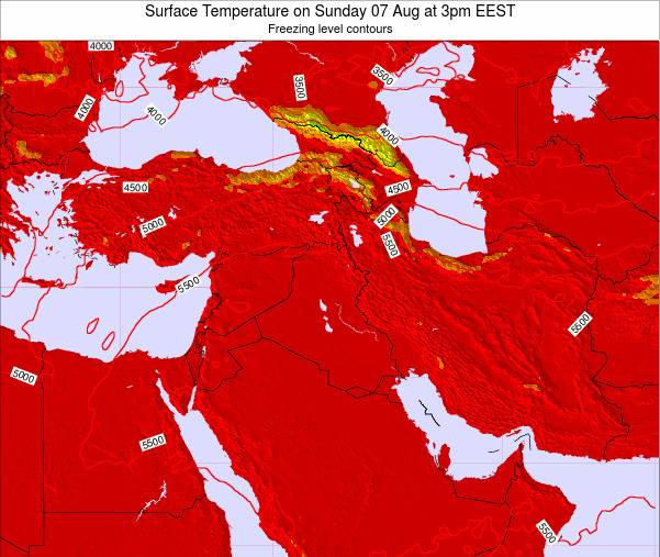 Israel Surface Temperature on Monday 22 Oct at 9am EEST map