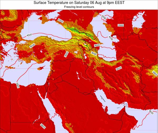 Lebanon Surface Temperature on Sunday 23 Dec at 8pm Aleppo time map