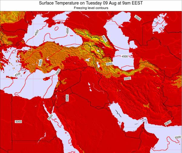 Israel Surface Temperature on Friday 28 Sep at 9am EEST map