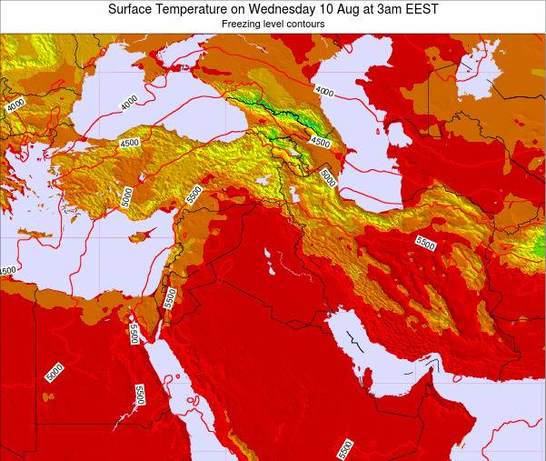Lebanon Surface Temperature on Monday 24 Dec at 8am Aleppo time map