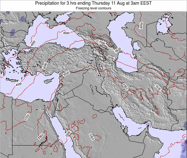 Syria Precipitation for 3 hrs ending Sunday 27 Jul at 9pm EEST