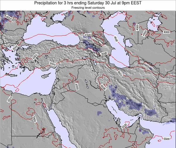 Syria Precipitation for 3 hrs ending Sunday 19 May at 9pm EEST