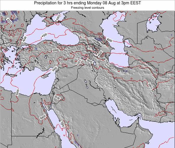 Syria Precipitation for 3 hrs ending Monday 28 Jul at 3am EEST
