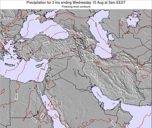 Syria Precipitation for 3 hrs ending Saturday 07 Mar at 8pm EET