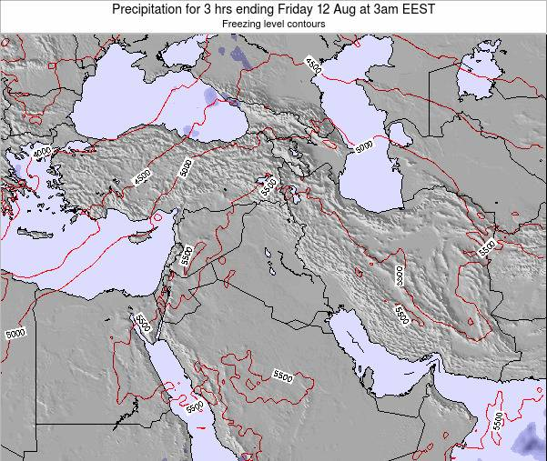 Syria Precipitation for 3 hrs ending Monday 04 Aug at 3pm EEST