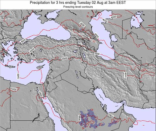 Syria Precipitation for 3 hrs ending Sunday 25 Feb at 2am EET map