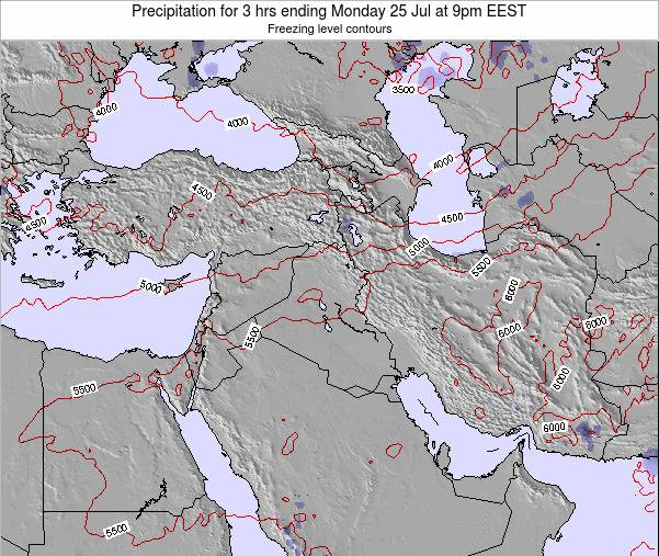 Syria Precipitation for 3 hrs ending Thursday 07 Aug at 9pm EEST