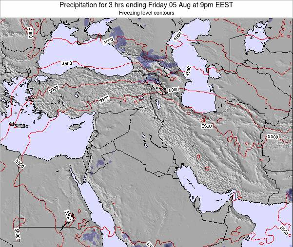 Syria Precipitation for 3 hrs ending Monday 22 Jan at 2pm EET map
