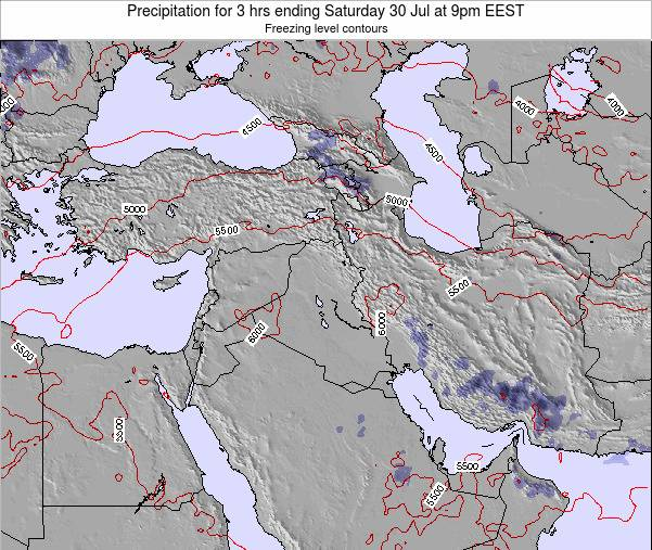 Syria Precipitation for 3 hrs ending Sunday 19 Feb at 8pm EET