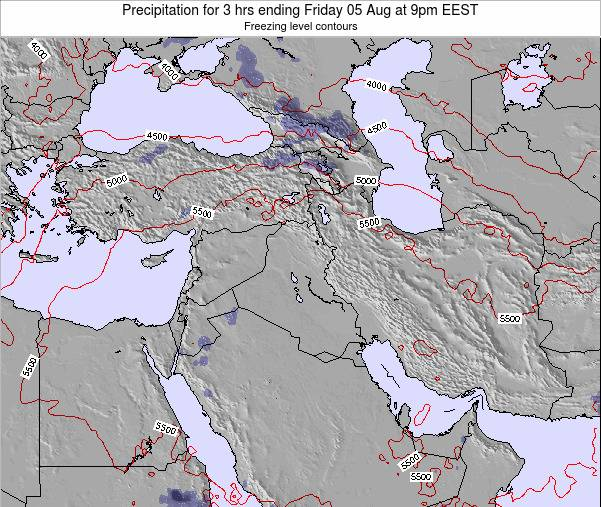 Syria Precipitation for 3 hrs ending Monday 09 Dec at 8am EET