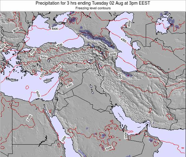 Syria Precipitation for 3 hrs ending Friday 24 May at 3pm EEST