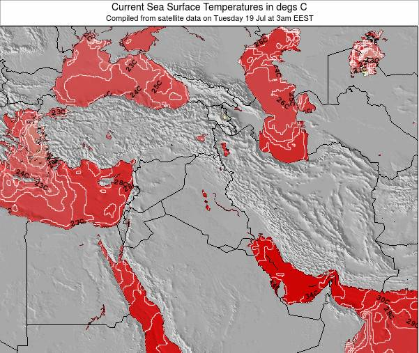 Iraq Temperatura del Mar Mapa