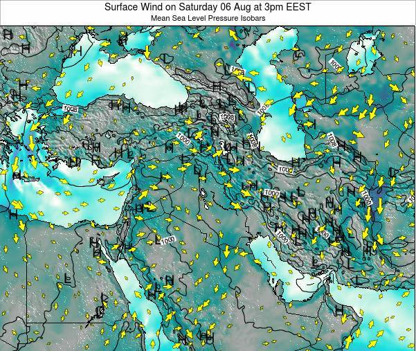 Lebanon Surface Wind on Monday 24 Jun at 3am EEST