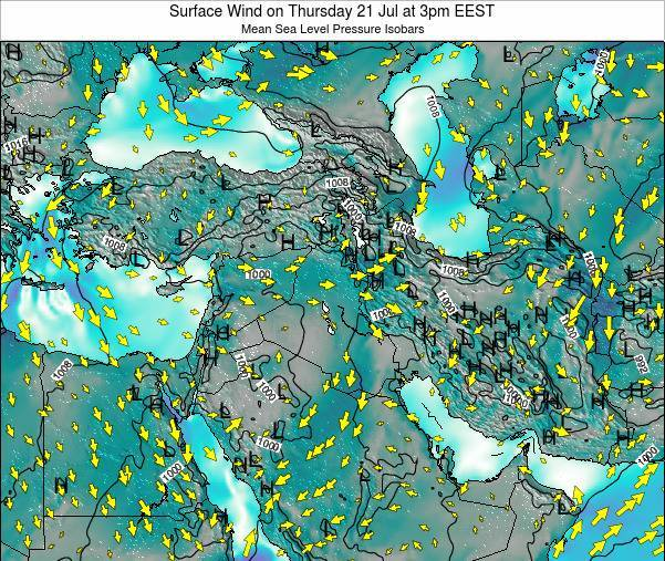 Israel Surface Wind on Tuesday 18 Mar at 2am EET