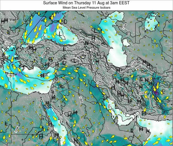 Lebanon Surface Wind on Tuesday 28 May at 9pm EEST