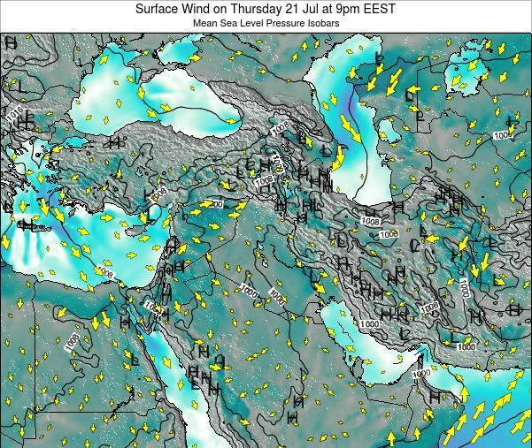 Lebanon Surface Wind on Monday 20 May at 9pm EEST